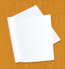 Page on wooden background