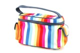 Colorful toiletry bag on white poster