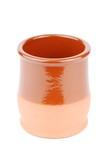 Vibrant orange ceramic planting pot on white poster