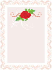 Red rose with floral ornament. Frame. Vector