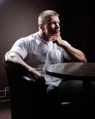 Serious muscular man