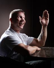 Happy muscular man