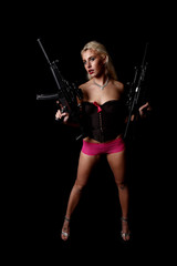 Blond woman with assault guns