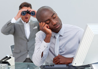 Asleep businessman annoyed by a man looking through binoculars