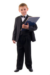 Young Suit Boy. Studio Shoot Over White Background.