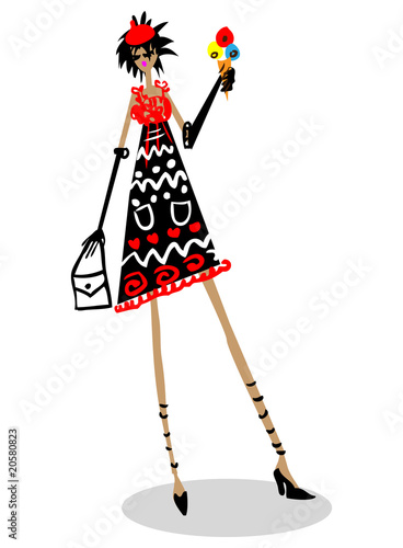 Illustration: Cartoon fashion woman with icecream in hand