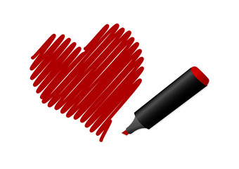 Illustration of a drawn red heart