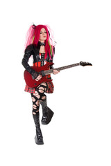 Gothic girl playing guitar