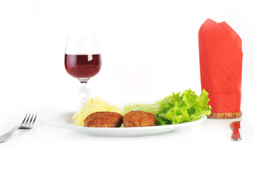 roasted cutlets  and  red wine