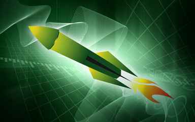 Illustration of a rocket with fire
