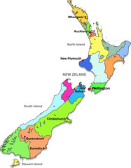 Color map of New Zeland with regions on a white background