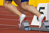 runner in starting blocks