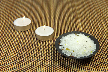 Sea salt and aromatic candles