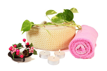 Bath composition with towel, sponge and aromatic candles