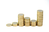 Monete da un Euro in salita e discesa isolate poster