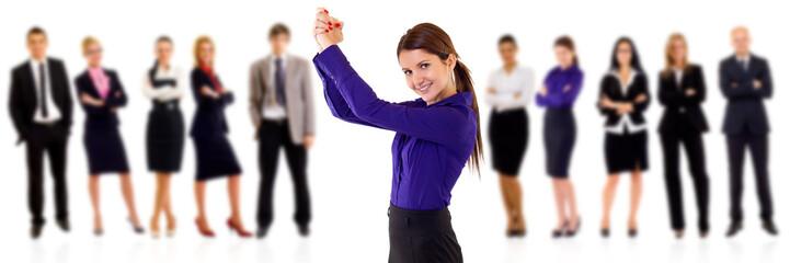 woman leading a winning team