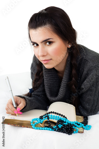 Girl with write notes