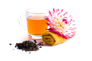 cup of herbal tea with flower,isolated