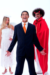 crazy businessman with angel and demon