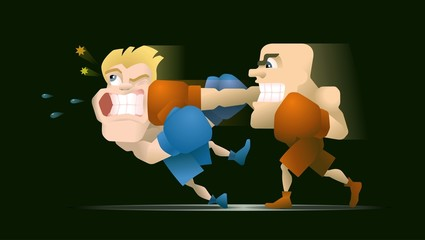 Two box fighters, one of them punches the other