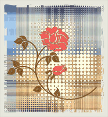 rose over halftone background