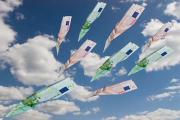 Airplanes made from euro currency