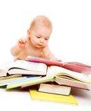 Fototapete Attraktiv - Baby - Beim Lesen / Schreiben