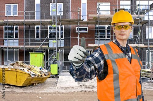 Satisfied construction worker