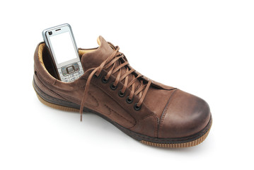 Mobile phone in shoe