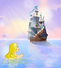 Mermaid looks at sailboat at sea.