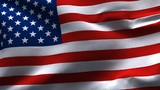 Creased American flag in wind in slow motion poster