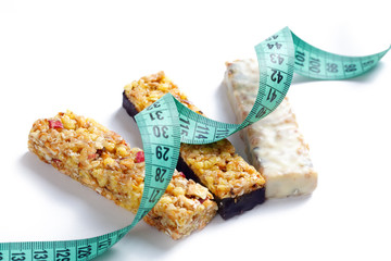 muesli bars with measuring tape