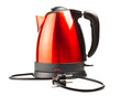 red and black electrical tea kettle isolated on white