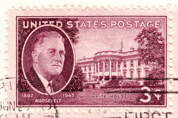 Stamp  in USA shows Roosevelt