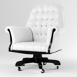 3d white leather armchair, studio render