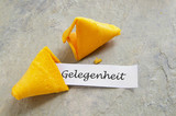 fortune cookie with German opportunity / gelegenheit message poster
