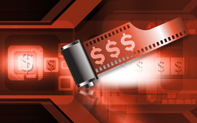 Illustration of a film negative roll with dollar symbol