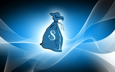 Illustration of a bag filled with dollar