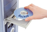 Hand and computer disk backup poster