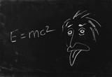 Ooops. The genius Albert Einstein show tongue. Sketch on blackbo poster