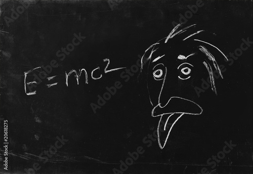 poster of Ooops. The genius Albert Einstein show tongue. Sketch on blackbo