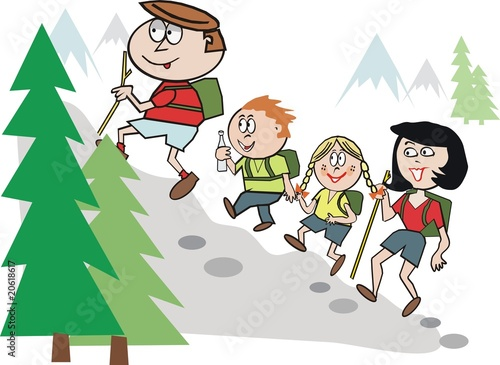 Family hiking cartoon