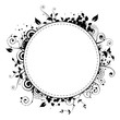 Vector - Black floral frame circle