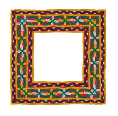 Square frame of embroidered fabric, isolated