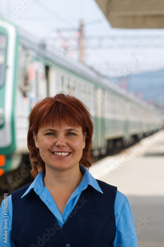 Girl-conductor smiles
