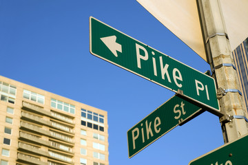 Pike Place street sign near famous Pike Place Maket in Seattle
