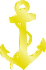 3D anchor  darker gold