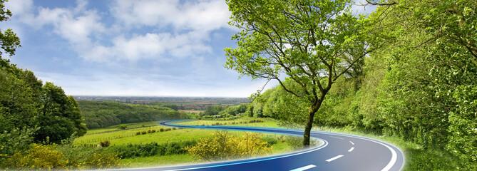 route bleue en campagne