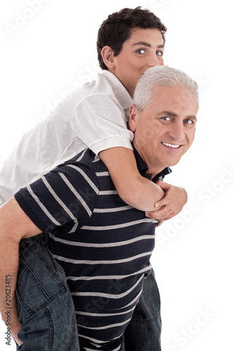Grandfather piggybacking his grandson