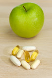 Green Apple and Nutrition Supplement Tablets or Medicine poster